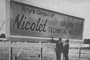Nicolet College sign marking the start of the college