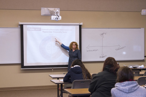 instructor using projector in classroom