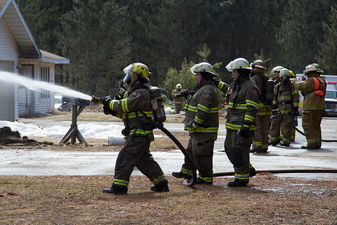 Fire training using fire hose