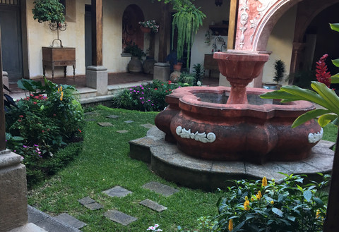 Courtyard with fountain in guatemala